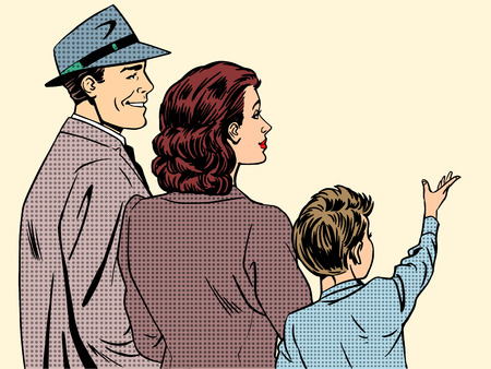 adult comic: Family mom dad and son retro style pop art. People stand back and in profile dreamy boy raised his hand up. The concept of family, love and care