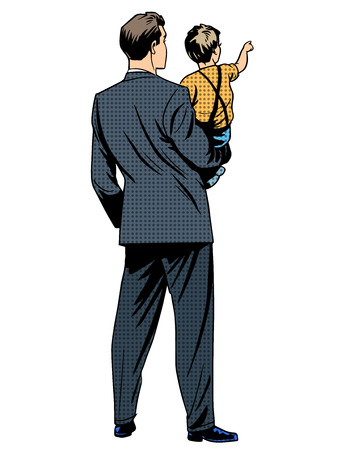 Dad son back child family retro style pop art Illustration