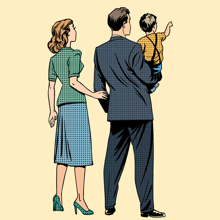 Family dad mom son baby boy back. Man and woman in retro pop art style Vectores
