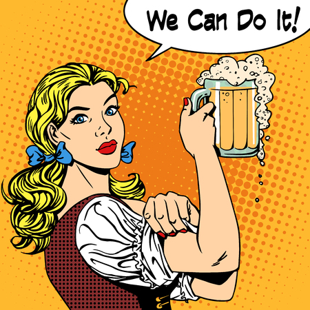 german culture: Girl waitress with beer says we can do it. Oktoberfest beer festival brewery restaurant holiday party. Womens business strong gender feminism. Retro style pop art. Woman in traditional Bavarian clothes