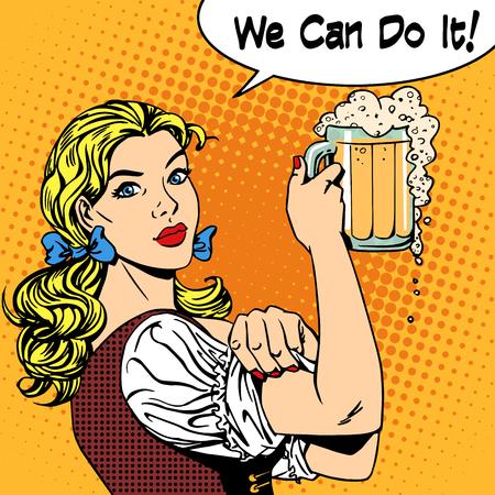 Meisje serveerster met bier zegt dat we het kunnen doen. Bierfestival Oktoberfest brouwerij restaurant vakantie partij. Vrouwen bedrijf sterke geslacht feminisme. Retro-stijl pop art. Vrouw in traditionele Beierse kleding