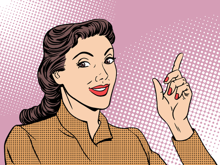 Business coach woman retro pop art style. Businesswoman gesture mentor teacher