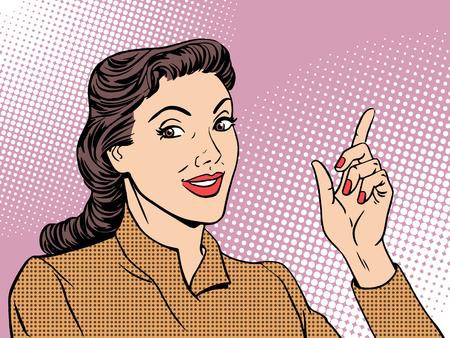 educadores: Entrenador de la mujer de negocios del estilo del arte pop retro. Maestro mentor gesto Empresaria