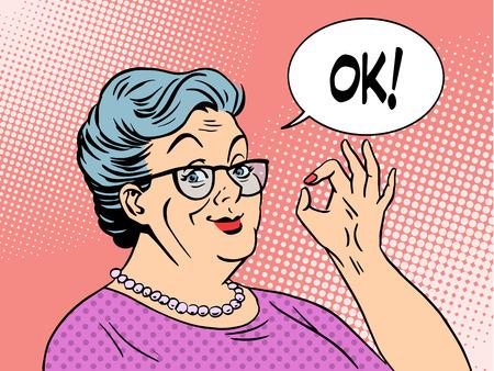 libro caricatura: Anciana Granny gesto estilo del arte pop bien. D�a del abuelo