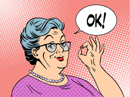 woman think: Old woman Granny gesture okay pop art style. National Grandparents Day Illustration