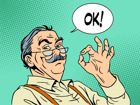 success man: Grandpa gesture okay old man approval experience success pop art retro style. National Grandparents Day father Illustration