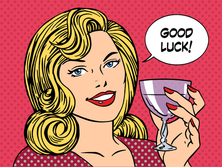 pop: Beautiful woman toast glass wine good luck retro style pop art. Party romantic evening dinner date