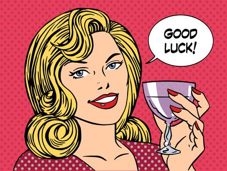 kunst: Schöne Frau, die Toast Glas Wein Glück Retro-Stil Pop-Art. Partei romantischen Abend Abendessen Datum