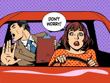chofer: Mujer de conducción del conductor pánico escuela de arte pop de estilo retro calma. Alquiler de coches y transporte