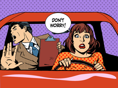 car driver: woman driver driving school panic calm retro style pop art. Car and transport Illustration