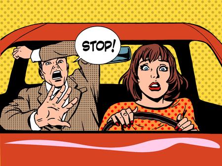 woman driver driving school panic calm retro style pop art. Car and transport Illustration