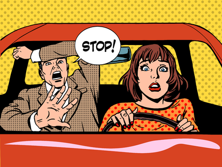 vintage woman: woman driver driving school panic calm retro style pop art. Car and transport Illustration