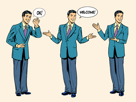 retro man: Set businessman presentation show welcome. The three figures of men in full growth. Retro style pop art.