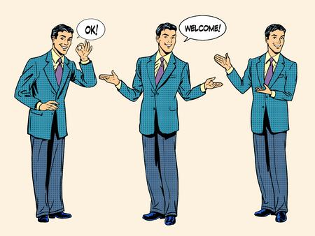 style: Set Geschäftsmann Präsentation anzeigen willkommen. Die drei Figuren von Menschen in vollem Wachstum. Retro-Stil Pop-Art.
