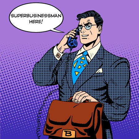 Super businessman hero talking phone success finance. Male superhero in the work. Pop art retro style Illustration