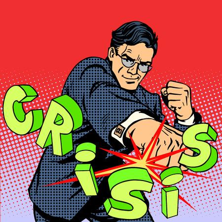 危機のビジネス概念に対してスーパー ビジネスマンの英雄。レトロなスタイルのポップアート。ビジネスの人々 は、決定的な力のリーダーシップ