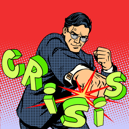 courage: Super businessman hero against the crisis business concept. Retro style pop art. Business people are the decisive force leadership