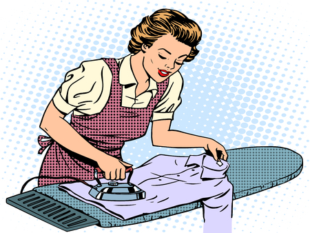 Woman housewife wife stroking his shirt iron homework. Home electrical appliances. Retro style pop art. Comfort care family love