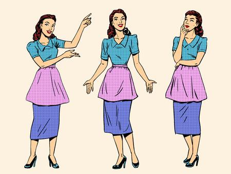 Set retro housewife woman wife girl. Art pop style