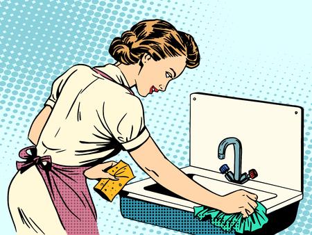 ama de casa: mujer limpia fregadero de la cocina ama de casa de la limpieza comodidad las tareas del hogar del arte pop de estilo retro Vectores