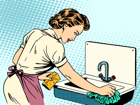 pop art woman: woman cleans kitchen sink cleanliness housewife housework comfort retro style pop art