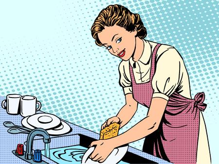 cocina caricatura: Mujer lavando platos ama de casa de la comodidad las tareas del hogar del arte pop de estilo retro