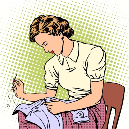 woman sews shirt thread housewife housework comfort retro style pop art Vettoriali