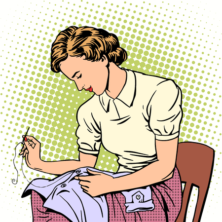 woman sews shirt thread housewife housework comfort retro style pop art Illustration