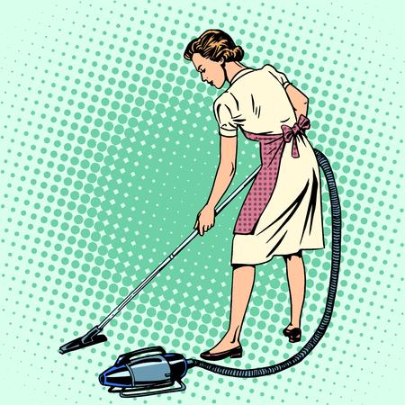 Mujer aspirar el ama de casa habitación confort tareas domésticas arte pop de estilo retro. También el tema de los hoteles y servicio de hospitalidad Ilustración de vector