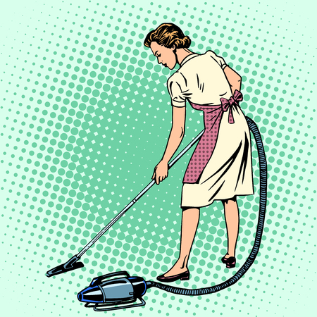 retro housewife: Woman vacuuming the room housewife housework comfort retro style pop art. Also the theme of the hotels and hospitality service