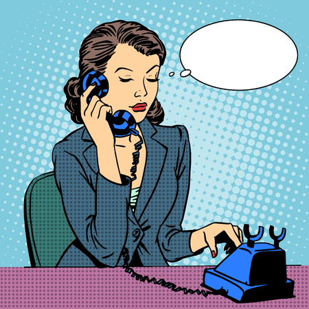 vintage phone: Business woman talking phone. Businesswoman in the office. Retro pop art style