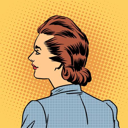 woman back: Business woman in profile. Pietro style pop art