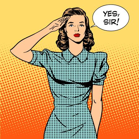 cartoon soldat: Frauensoldat Hausfrau-Konzept des Feminismus und Dienstleistungen. Die Frau, salutiert und sagt: Ja, Sir. Retro-Stil Pop-Art. Beziehungen in der Familie und bei der Arbeit