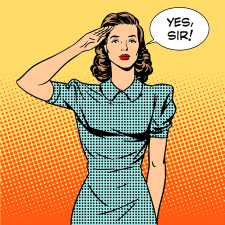 pop art woman: Woman soldier housewife concept of feminism and services. The woman salutes and says Yes sir. Retro style pop art. Relationships in the family and at work