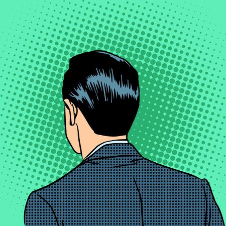cabeza: La parte trasera de la cabeza de un hombre de negocios. Arte pop del estilo retro Vectores