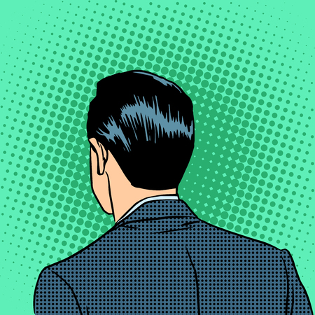 in the back: The back of the head of a businessman. Retro style pop art Illustration