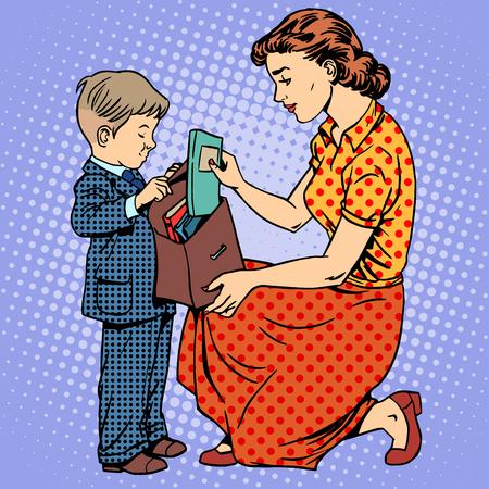 arte moderno: La madre ayuda al niño a venir a la escuela. Los libros de texto cartera de libros. Familia Educación arte pop de estilo retro