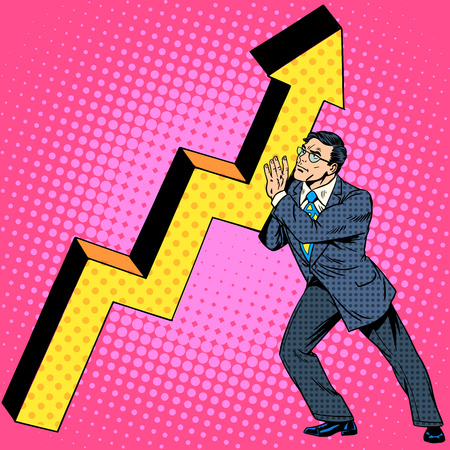 Businessman raises growth graph. Business concept financial success. Retro style pop art