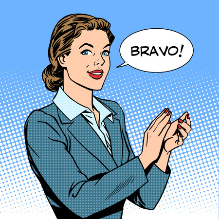 woman applause Bravo concept of success retro style pop art