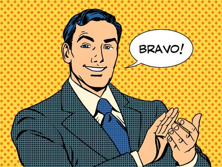 comico: hombre aplausos Bravo concepto de �xito del arte pop de estilo retro Vectores
