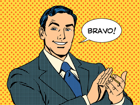 stil: Mann Applaus Bravo Konzept für den Erfolg der Retro Art Pop-Art- Illustration