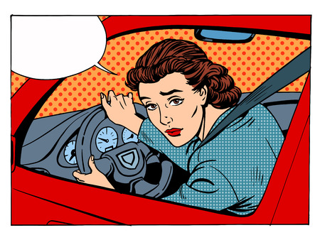 rules of the road: female driver offending transport traffic rules retro style pop art