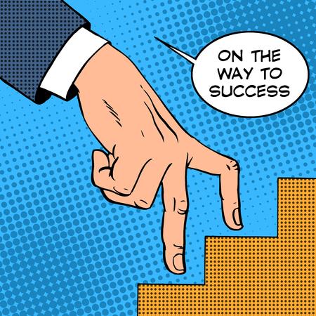 成功ビジネス コンセプト指実業家レトロ ポップ アートのはしごを