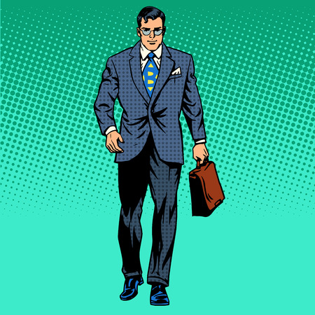 businessman goes forward the business concept of movement retro style pop art