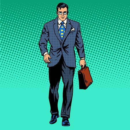 podnikatel jede vpřed obchodní koncept pohybové retro stylu pop art Ilustrace