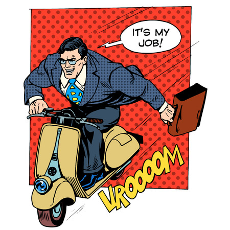 Businessman rushing to work on a scooter retro style pop art business business concept