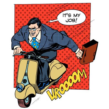 ejecutivos: Empresario corriendo para trabajar en un arte pop concepto de negocio negocio scooter de estilo retro
