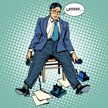 del secretario: Hombre de negocios cansado del estr�s de trabajo. La gente de negocios de la conversaci�n de tel�fono de estilo retro del arte pop