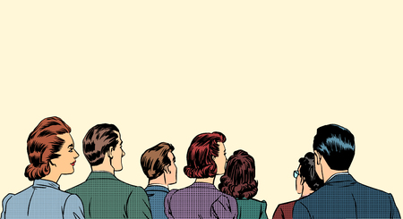 hombre: Una multitud de espectadores un paso atrás del arte pop de estilo retro Vectores