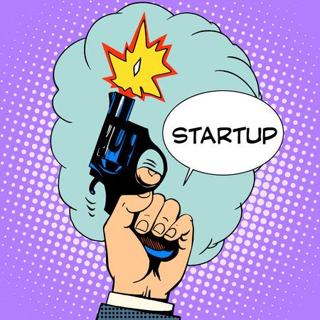 business concept opstarten startschot retro-stijl pop art